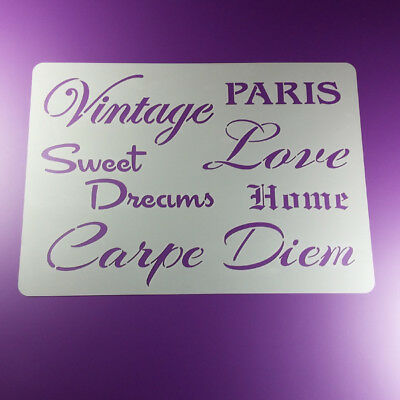 A4 Schablone Vintage Sweet Dreams Home Paris Carpe Diem - BS433