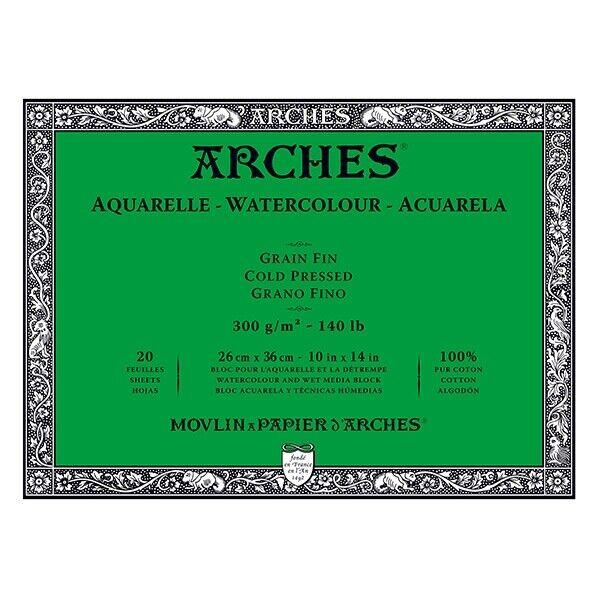 "Arches Watercolor Blocks 140 lb Cold Press Block 10"""" x 14"""" (20 Sheets)"