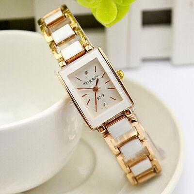 Women Ladies Analog Quartz Bracelet Stainless Steel White Wrist Watch