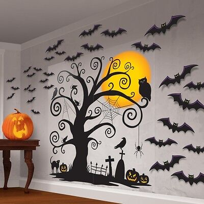 Halloween Huge Wall Decorating Kit Haunted Forest Spooky Tree Silhouette & Bats ()