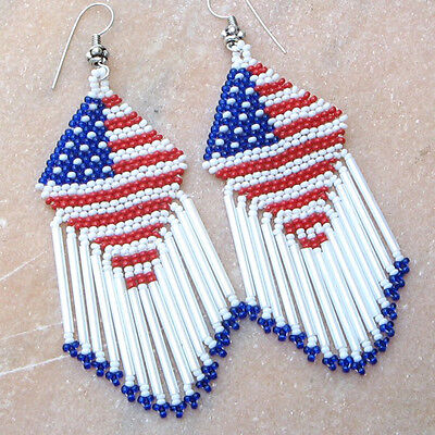 AMERICAN PATRIOTIC  RED BLUE WHITE FLAG BEADED HANDMADE LONG EARRINGS - Patriotic Earrings