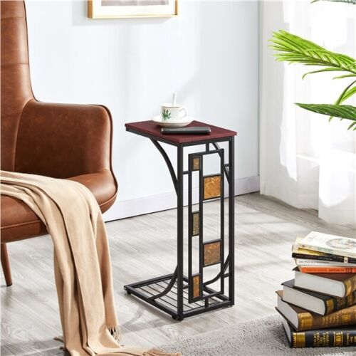 2 Pcs C Shaped Sofa Side End Tables Under Sofa Coffee Tray Living Room Set of 2 1