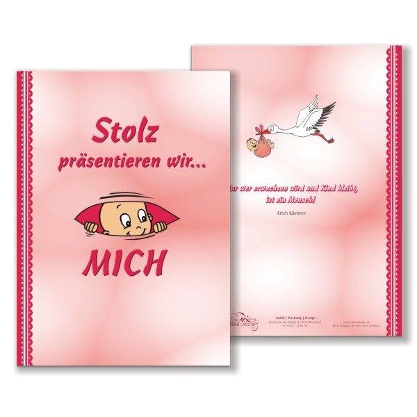 Babytagebuch Mädchen, DIN A4, 48 süße bunte Seiten zum Beschriften, Hardcover