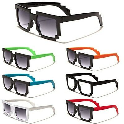 8 Bit Square Pixel Glasses Black White Red Nerd Retro Sunglasses Dark Clear Lens - Pixel Nerd Glasses