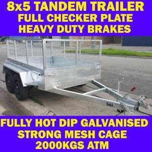 8x5 galvanised tandem box trailer with cage heavy duty chassis