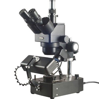 Amscope 5x-80x Jewelry Gem Trinocular Stereo Microscope With Three Lights