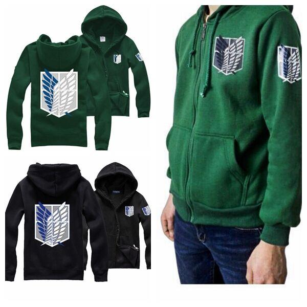Attack on Titan Shingeki no kyojin Hoodie Black Green Jacket Costume UK Seller
