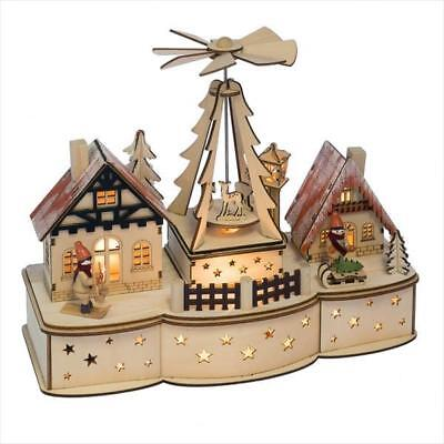 Mid West Wood Lighted LED Rotating Pyramid Skiing Chalet Village Christmas Scene](Led Christmas Scene)