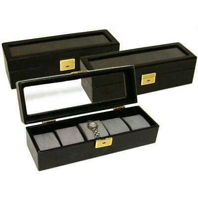 3 Black Faux Leather Watch Display Box Holds 5 Watches