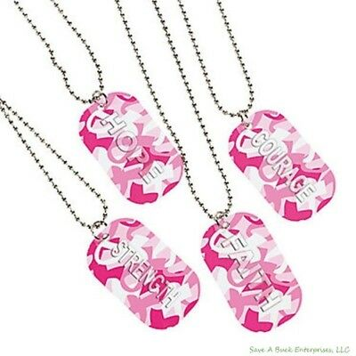 (60) CAMO Dog Tag Necklace Charm Chains ~ Pink Breast Cancer Awareness (5 dz) Breast Cancer Dog Tag