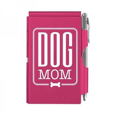 2142 Dog Mom Wellspring Flip Note Wpen Pocket Notepad Pink Puppy Bone Mommy