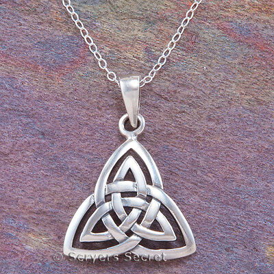 """925 Sterling Silver TRIQUETRA double Trinity Knot Pendant Celtic Necklace 18"""""""