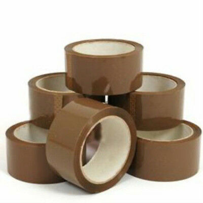 2x 48mm x 66m Brown Packaging Parcel Postal Tape Rolls
