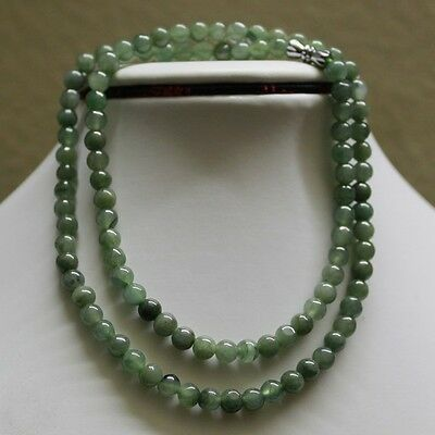 "100% Natural Untreated Grade ""A"" Beautiful Green Jadeite Bead Necklace 5.6mm 20"""