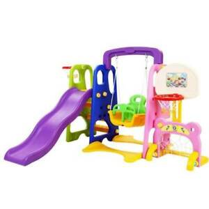 Keezi Kids 7-in-1 Slide Swing with Basketball Hoop Toddler Outdoo