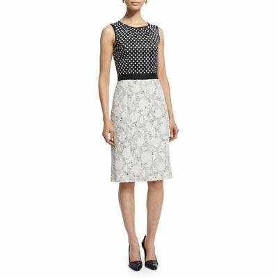$2K Oscar de la Renta black white polka dot print dress sz 8 M Neiman