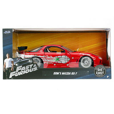 - Jada Toys Fast and Furious Dom's Mazda RX-7 Diecast Model Car 1:24 98338 Red