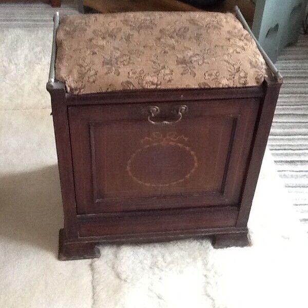 Lovely Antique Inlaid Mahogany Piano Stool With Storage
