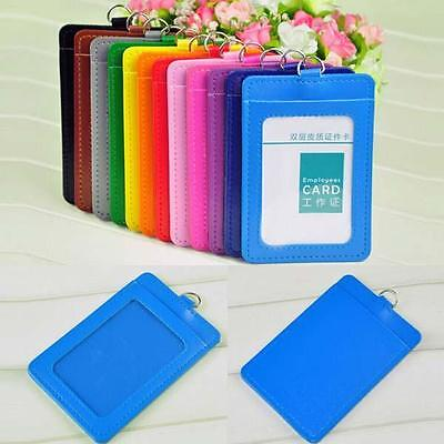 Faux Leather Badge Id Card Vertical Holders With Blue Back Neck Strap