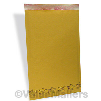 5 1000 10.5x16 Kraft Usa Ecolite Bubble Mailers Padded Envelopes Bags Self Seal