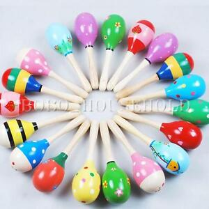 2PCS Wooden Wood Maraca Rattles Shaker Percussion Kid Baby Musical Toy Gift