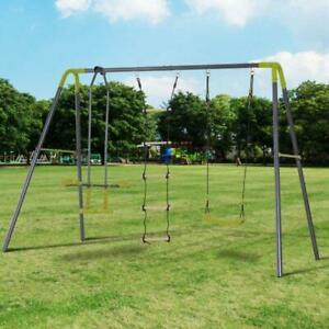 A Frame Kids Metal Swing Set Climbing Ladder Patio Outdoor With