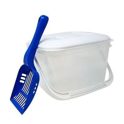 PET 6L FOOD STORAGE CANISTER & BLUE SCOOP PLASTIC TUB LID HANDLE & PET CAT DOG  Cat Food Storage Scoops