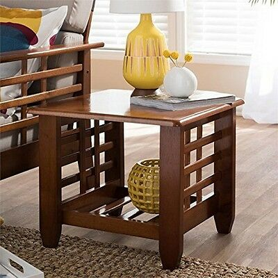 Mission Style Cherry Finished Brown Wood Living Room Occasional End Table
