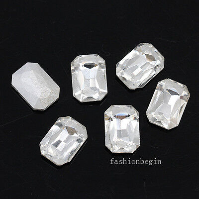 (Clear Pointed silver back crystal rhinestone Glass stone Octagon jewels All size)