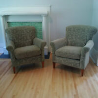 Sage green velvet chair (2 available)