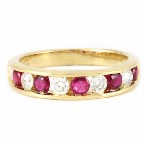 14k Yellow Gold Ruby/Diamond Band (0.75/0.53) #1434