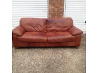"Brown large two seater leather sofa £60 ""free local delivery """