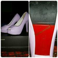 Light Lilac Open-Toed Platform Heels