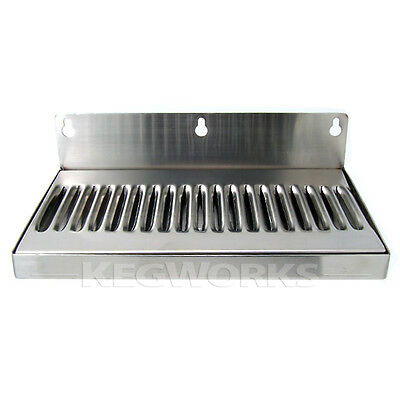 10 Wall Mount Drip Tray - Stainless Steel - No Drain - Bar Draft Bar Beer Spill
