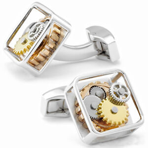 Silver Square Framed Steampunk Gear Watch Mechanism Cufflinks