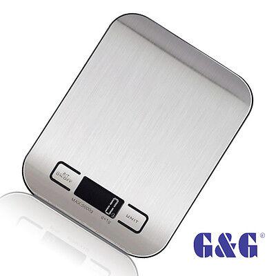 G&G KI 5kg/1g Küchenwaage Edelstahl m. Negativ-LCD Display Kitchen Scale schwarz Küchenwaage