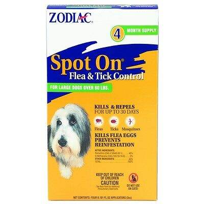 ZODIAC SPOT ON FLEA & TICK LARGE DOGS OVER 60 LBS 4 MONTH SUPPLY FREE SHIP USA