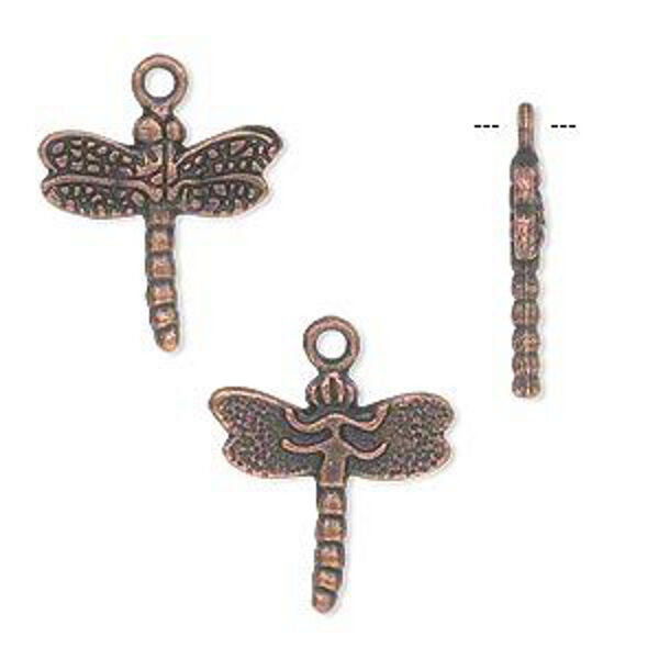 Copper Dragonfly Charms Steampunk Style Jewelry Antiqued Bulk Lot of 40