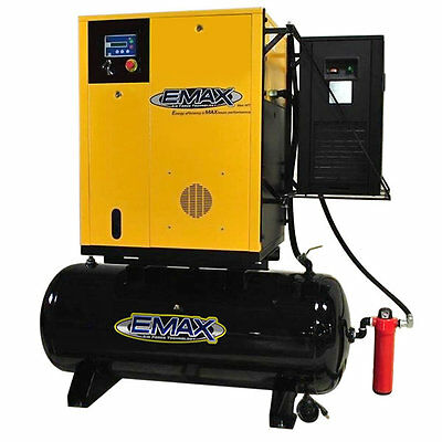 EMAX 10-HP 120-Gallon Rotary Screw Air Compressor Fully Packaged w/ Dryer (23...