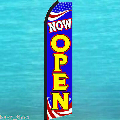 Now Open Patriotic Flutter Feather Flag Swooper Advertising Sign Banner 25-1428