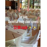 Ivory satin chair covers for sale