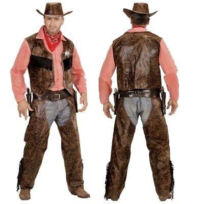 Cowboy Herren Western Kostüm Buffalo Bill - Weste mit Hemd + Chaps + Hut Sheriff