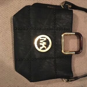Michael kors black bag studded gold bar handles