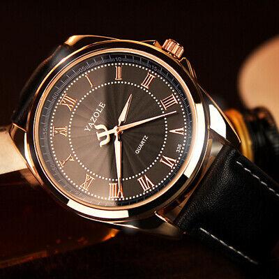 Men Fashion Business Watch Analog Roman Number Leather Wrist Watch's (Analog Leather Wrist Watch)