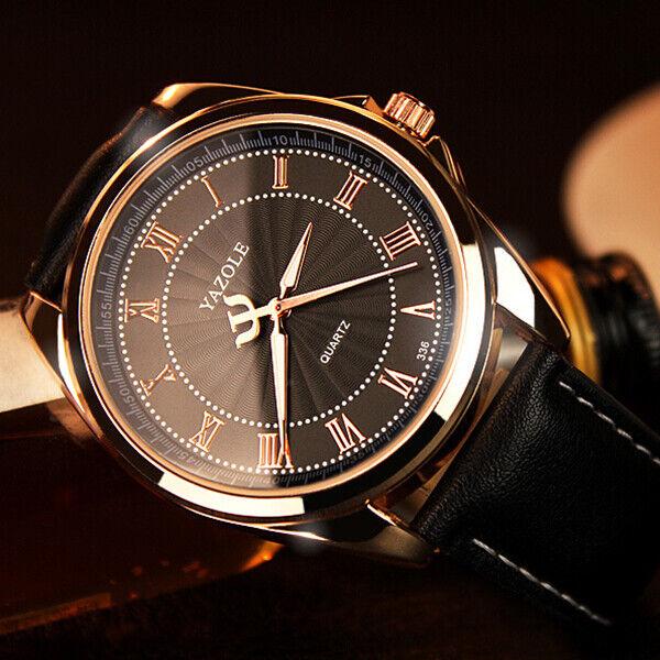 Men Fashion Business Watch Analog Roman Number Leather Wrist