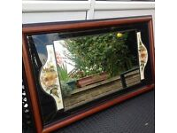 Lovely large vintage mirror with dried flower insert leaded glass wood