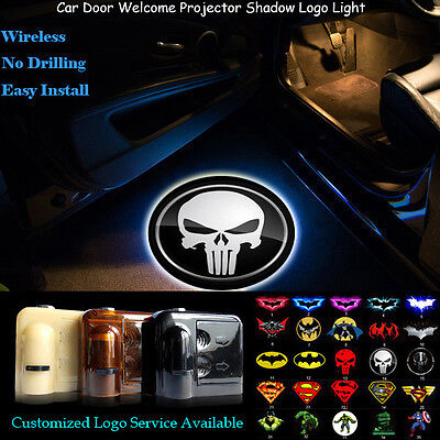 2x 3D Punisher Wireless Car Door Welcome Projector Shadow Puddle CREE LED Light