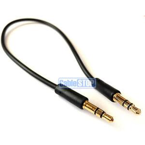 Slim 25cm SHORT 3.5mm Aux Jack Cable 24k Gold Connectors Car Audio Phone Lead