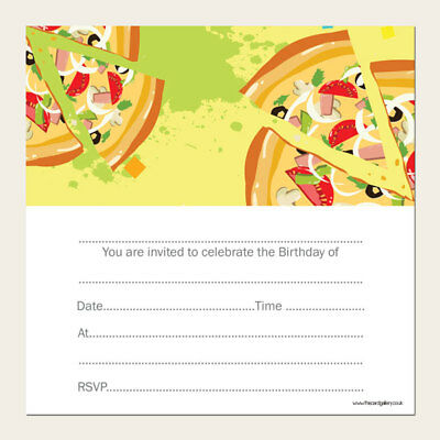 Kids Children's Birthday Invitations - Pizza Party - Pack of 10