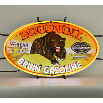 Bruinoil Gasoline Neon Sign Bruin 5GSBRN w/ FREE Shipping